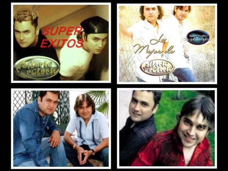 Es un collage de cuatro fotos donde estan un dueto de cantantes posando en la foto