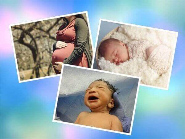 Collage de tres fotos la mama embarazada el nino naciendo y el otro nino durmiendo