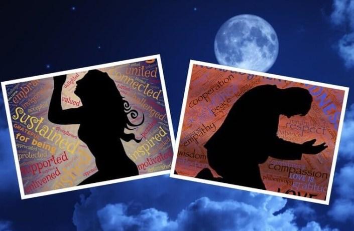 Es un collage de dos fotos de un hombre y una mujer orando