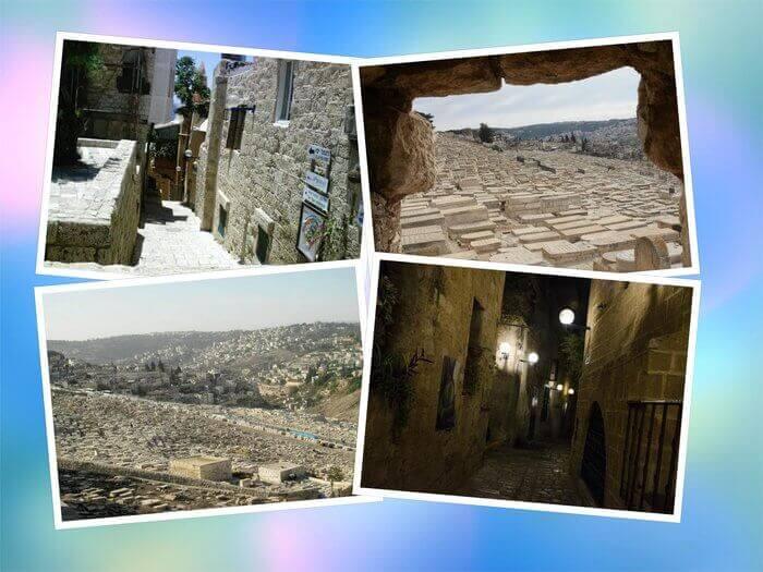 Es un collage de cuatro imagenes de la tierra de Israel