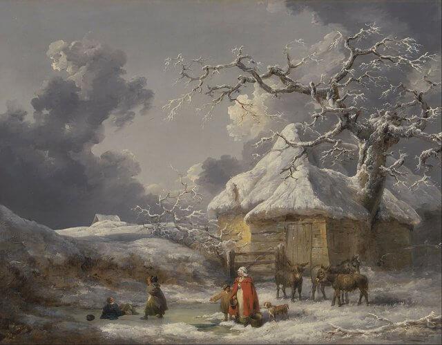 Es una familia afuera de su casa y estan unos asnos es una paisaje que esta nevado
