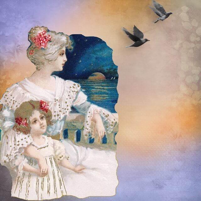Es una pintura donde estan sentada la madre y abraza a su hija de 4 anos