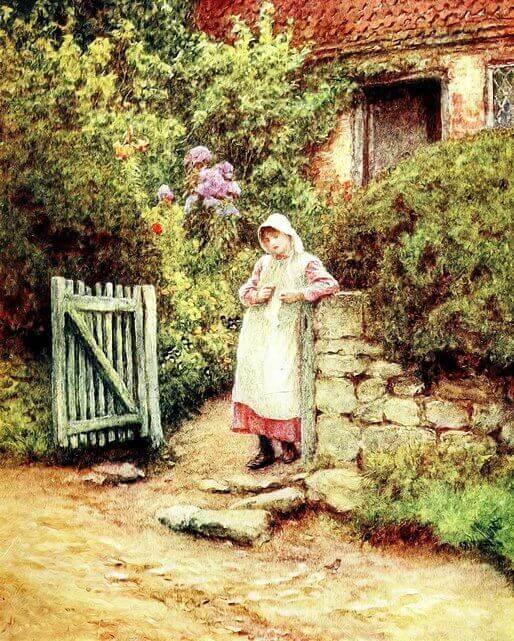 Es una mujer que esta parada a la puerta de su corral
