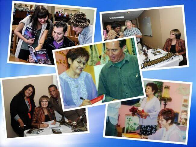 Es un collage de cinco fotos donde Celsa rocha esta firmando sus propios libros a sus clientes