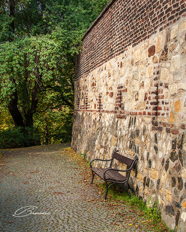 One of the quiet paths around the walls in Vyšehrad.