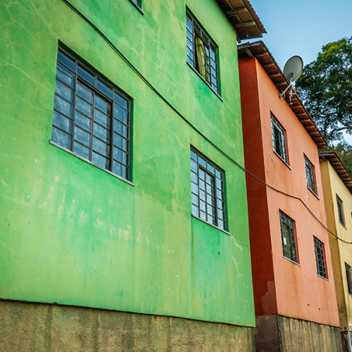 Some colorful houses in the Slum of Dona Marta Hill, Rio de Janeiro, Brazil.