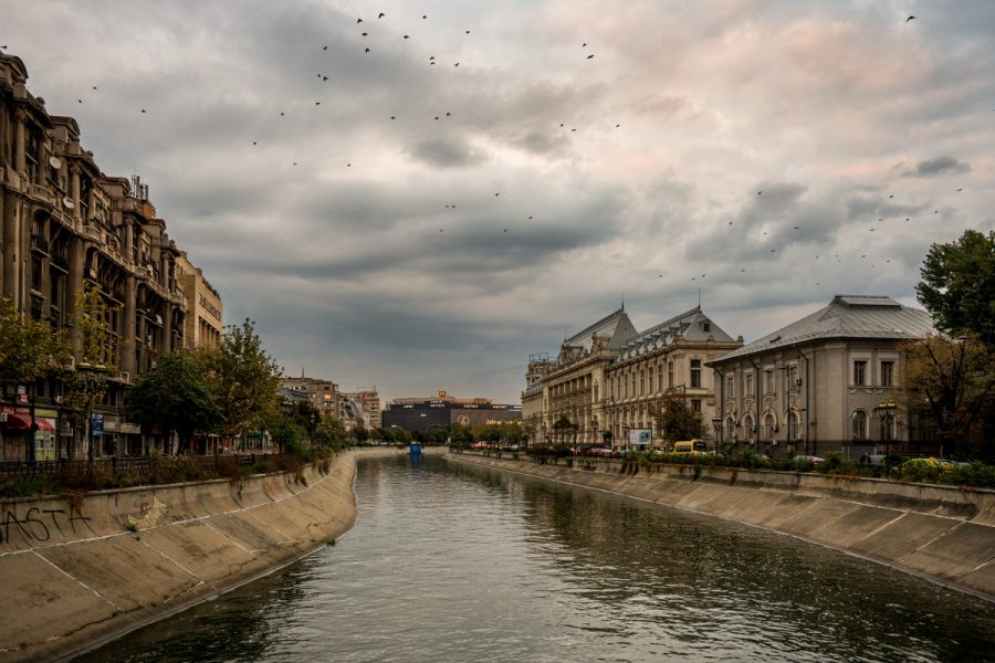 Bucharest, Romania, The Dâmbovița River.