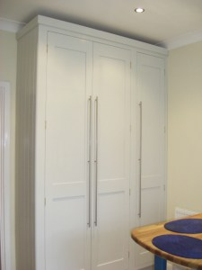 Duck Egg Blue Shaker Style Kitchen, Full height Larder, Broom Cupboard, Copyright Celtica Kitchens 2014