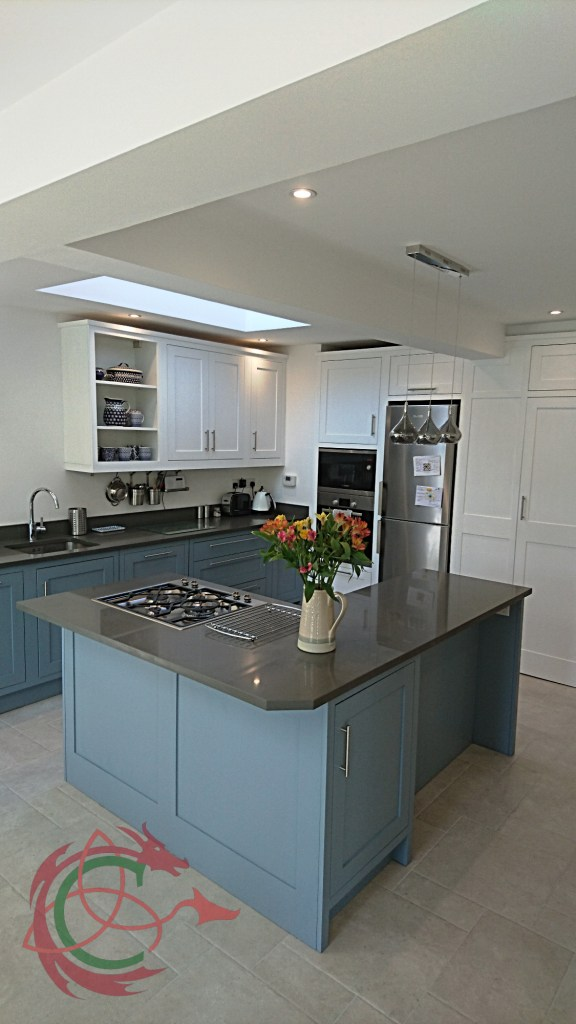 framed shaker bespoke kitchen in North London with L shape island by Celtica Kitchens