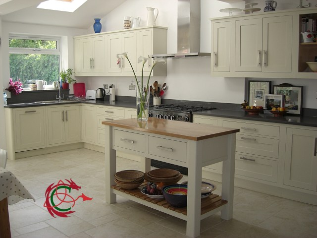 Painted Shaker kitchen with potboard island