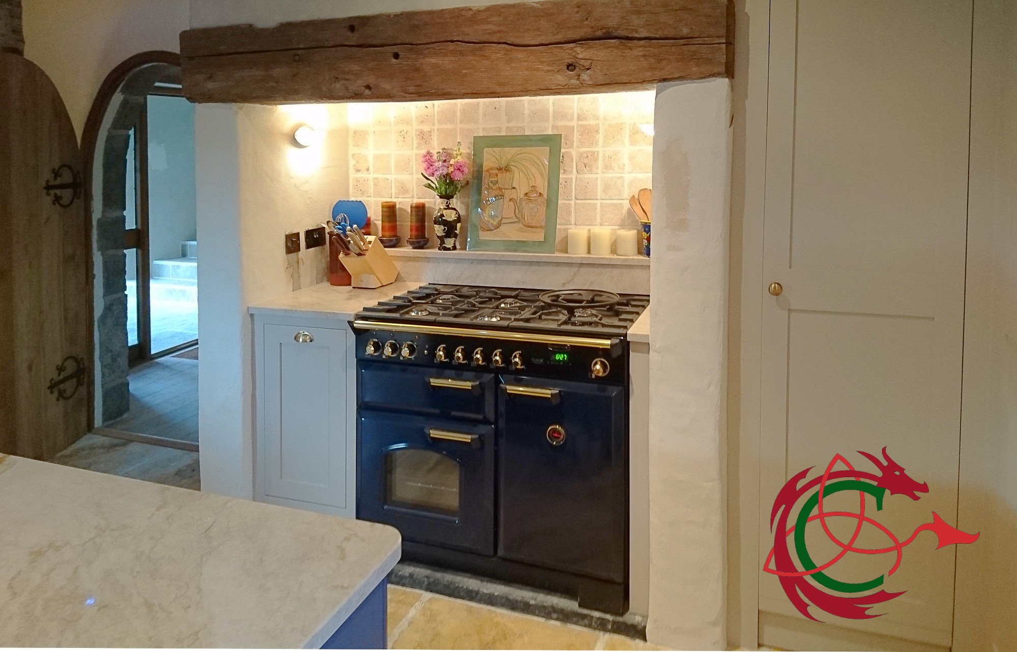 Inglenook in West Wales barn conversion oak beam range cooker