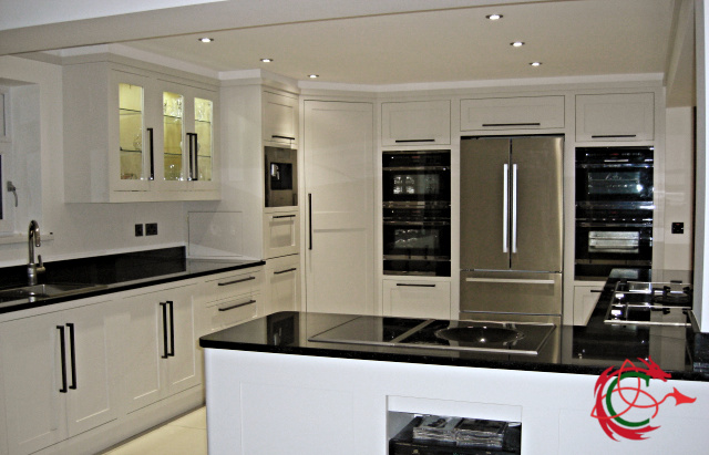 Bespoke kitchens South Wales: modern classic kitchen in Aberdare; island, granite worktop, appliance wall, walk-in corner cabinet