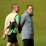 Brendan Rodgers On Training Field With Scott Brown