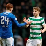 Rangers' David Bates and Celtic's Stuart Armstrong shake hands
