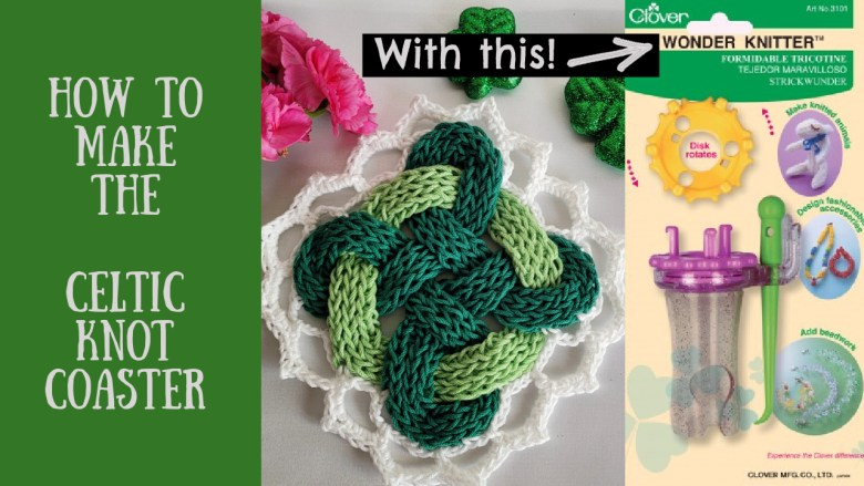 Green coaster woven Celtic Knot