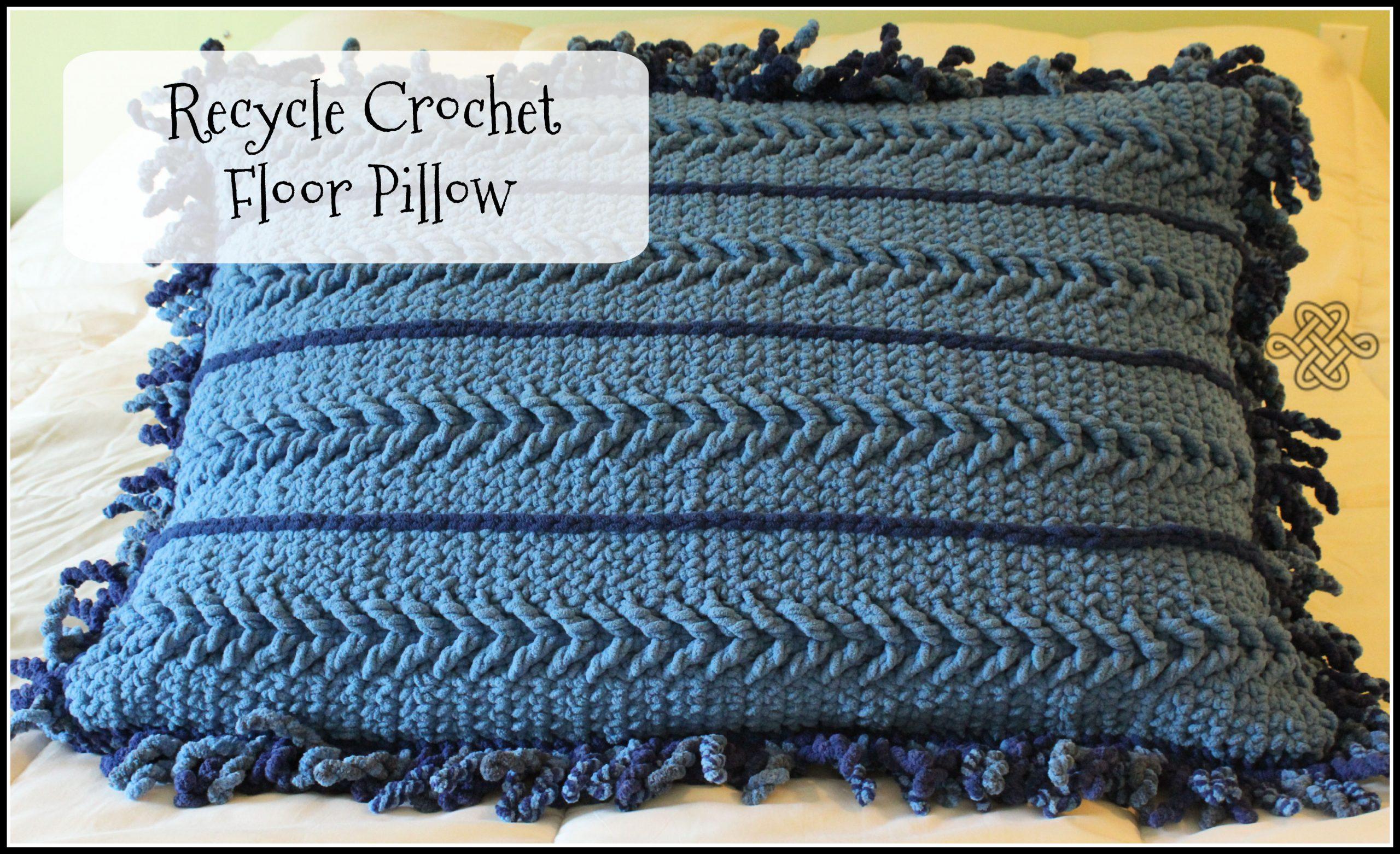 crocheted floor pillow with blanket yarn
