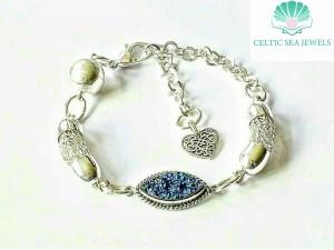 Viking Weave Blue Druzy Sterling Silver Bracelet