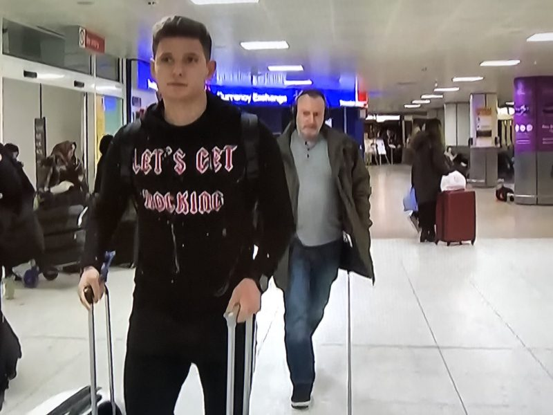 Patryk Klimala has arrived in Glasgow ahead of Celtic switch