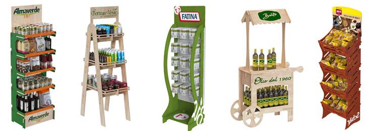 5 espositori per negozi realizzati in Legno