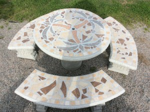 Round Mosaic Patio Table Set
