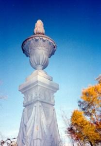 Flame-topped zinc urn, Bendle Cemetery, Flushing, Michigan