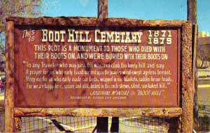 """The message on the back of the card reads, """"Just came from Boot Hill and am tired enough to lay down but they won't let me.""""  It's postmarked 8/3/66."""