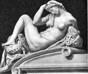 Night, detail on the tomb of Lorenzo, Duke of Urbino. She is the only allegorical figure Michelangelo completed.