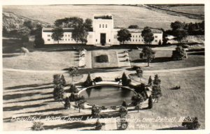 Vintage aerial view of the Temple of Memories at White Chapel Memorial Park