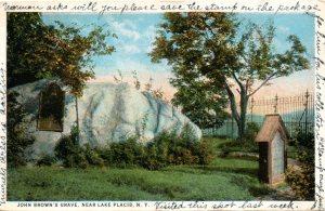 Vintage postcard of John Brown's grave