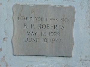 Pearl Roberts' marker, as photographed by Kathleen Rhoads.