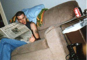 Blair reading the Chronicle