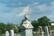 Granite urn atop obelisk, Glen Rock Cemetery, Pennsylvania
