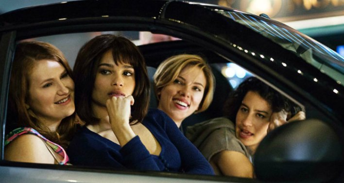 Jillian Bell, Zoë Kravitz, Scarlett Johansson e Ilana Glazer em A Noite É Delas (Rough Night)