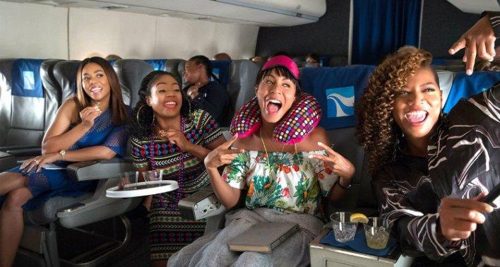 Regina Hall, Queen Latifah, Jada Pinkett Smith e Tiffany Haddish em Viagem das Garotas, filme da Netflix