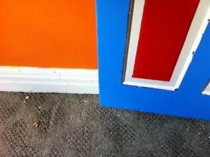 The Nipper's door and baseboard. Check out the difference of 'whites'. The baseboard has been washed with TSP. The door trim has not.