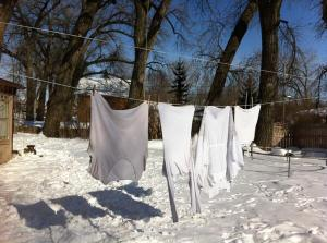The three shirts on the right were boiled; the one on the left was washed in the machine.