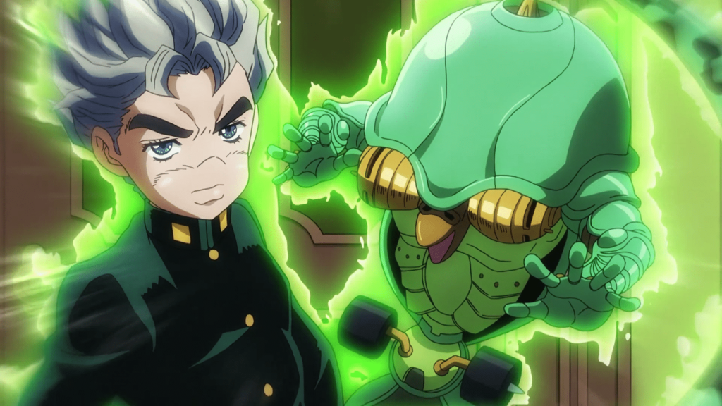 Koichi and his Stand, Echos, from JoJo's Bizarre Adventure.