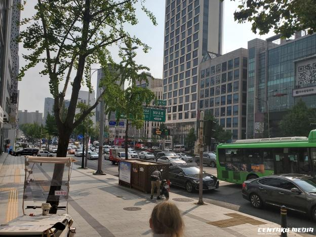 Cars and bus fill the streets in the Gangnam area.