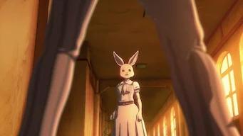 Haru the white rabbit in Beastars looking scared