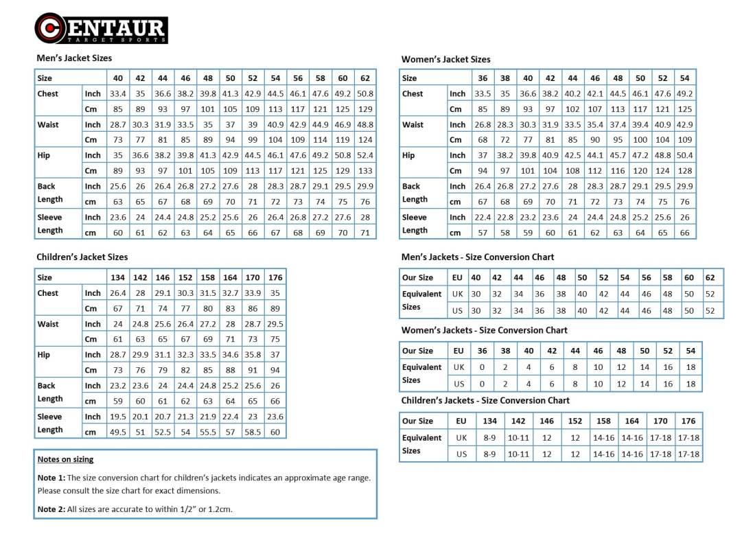 Centaur Target Sports - Shooting jacket Size Chart