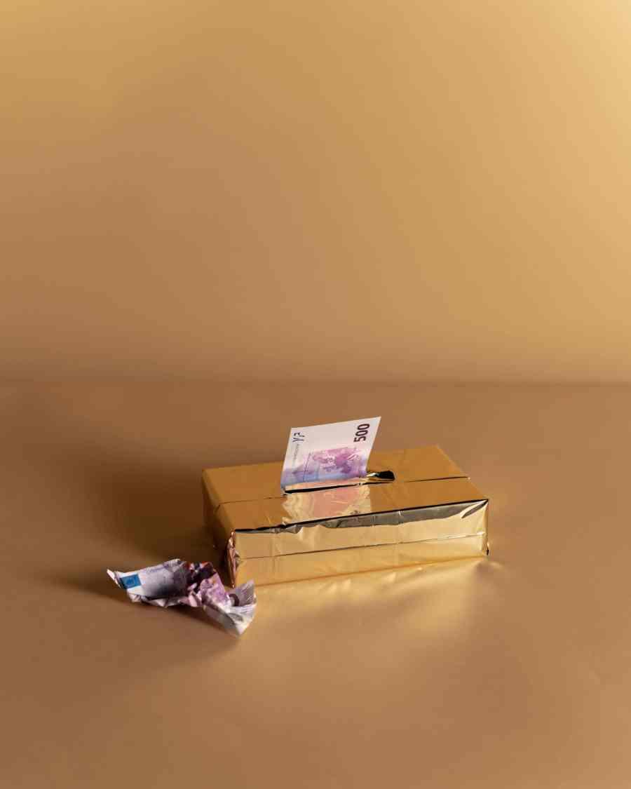 money in a tissue box