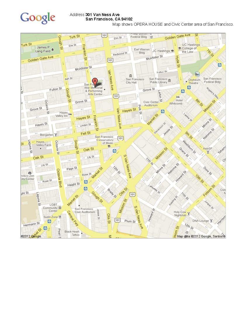 Map War Memorial Opera House And Surrounding Area San Francisco Ca Abdu L Baha In America