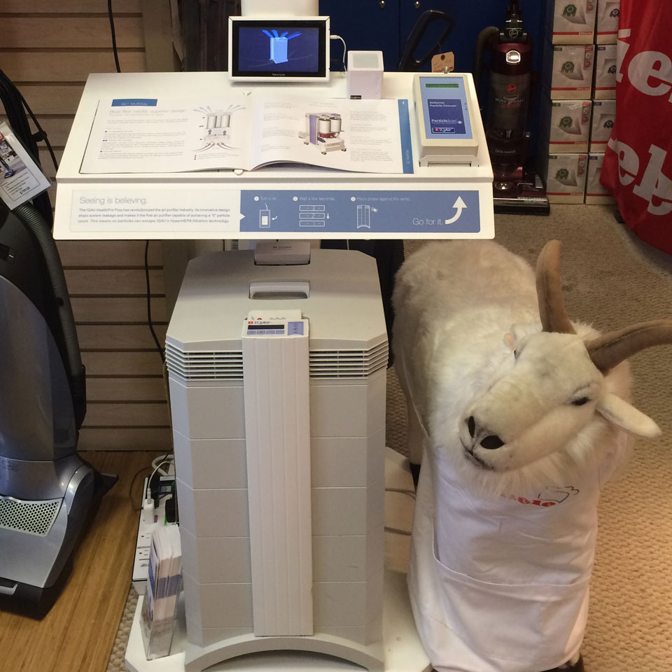 IQAir HealthPro display at More Than Vacuum store
