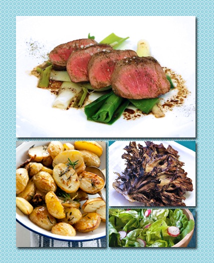lamb loin with leeks, duck fat potatoes, bibb salad with radish, maitake mushrooms