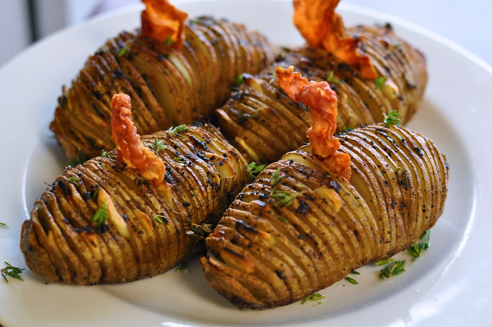 truffled-hasselback-potatoes-with-ham-crisps-recipe