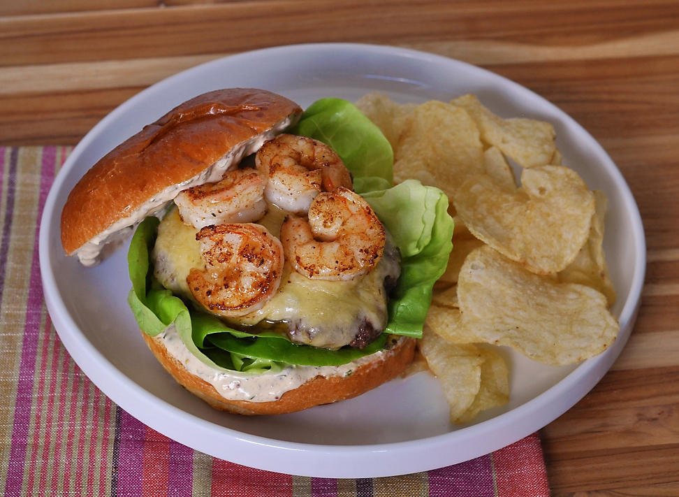 wagyu-spicy-shrimp-surf-turf-burger-recipe