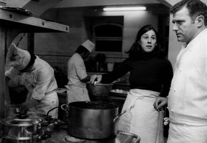 Paula in the kitchen with Andre Daguin in Auch.