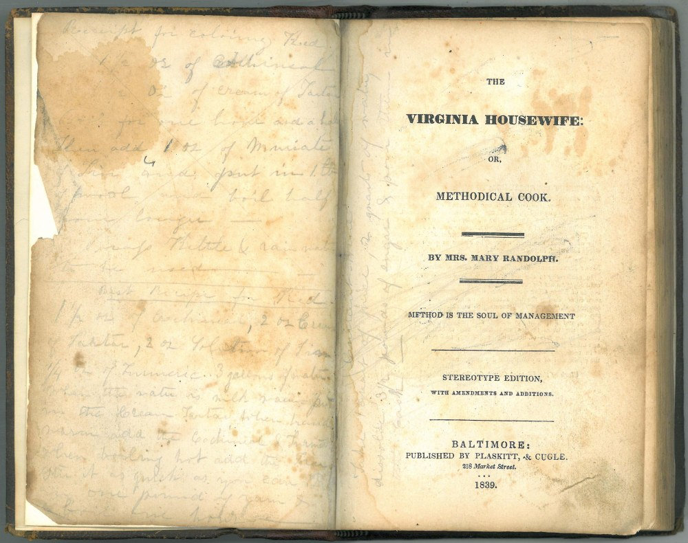 Virginia Housewife 1839 Edition