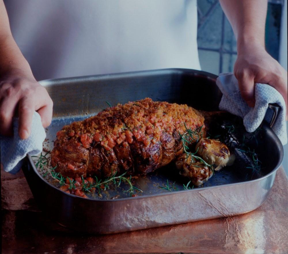 Roasted Leg of Lamb w Marinated tomatoes