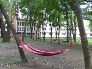 Timisoara Student Hammocks: Timisoara is a university town. There is a park in the Students Complex where hammocks hang between trees. These are for students to sleep in on warm nights. Police patrol the park regularly to insure safety and students talk to the wee hours of the morning and then fall asleep in the hammocks. Amazing!